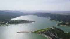 Aerial view of a Californian Reservoir - stock footage