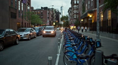 Greenwich Village Freedom Tower Citibike station in Manhattan New York City NYC Stock Footage