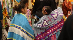 Three little girls dressed for a pow wow Stock Footage