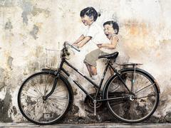 Street Art Mural in Georgetown, Penang, Malaysia Stock Photos
