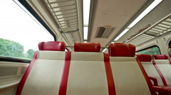Metro North Commuter Railroad Train Seats in New York Stock Footage