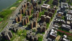 Aerial view of New York City residential blocks Stock Footage