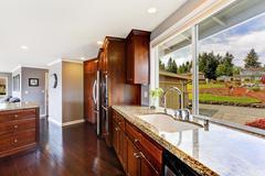 luxury kitchen room with window view - stock photo