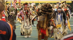 Pow wow grand entry dances in colors Stock Footage