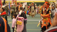 Pow wow grand entry dancers are very colorful Stock Footage