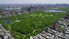 Aerial view of Central Park New York City Stock Footage