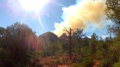 Smoke From Forest Fire Billowing Over Ridge- Sedona Arizona Stock Footage