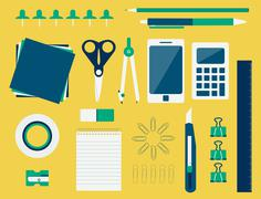 Office supplies (flat design) Stock Illustration