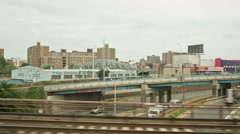 3rd Avenue Bridge New York City Bronx to Harlem Manhattan NYC projects Ghetto Stock Footage