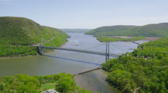 Aerial view of Bridge spanning the Hudson River - stock footage