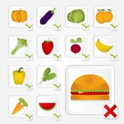 checklist of healthy food and unhealthy - stock illustration