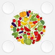 circle of fruits and vegetables with copy space. - stock illustration