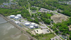 Aerial view of New York City water treatment plant Stock Footage
