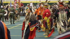 Pow Wow grand entry goes by in colorful fashion Stock Footage