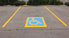 Disabled parking spot. Stock Footage