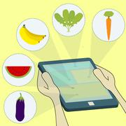 Fruits and vegetables in tablet Stock Illustration