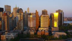Aerial view of lower Manhattan New York City Stock Footage