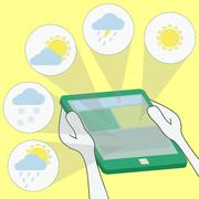Meteorology and weather forecast through the tablet Stock Illustration