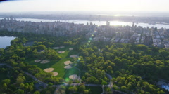 Aerial view of New York City and Central Park Stock Footage