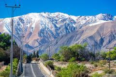 Road through andes mountains Stock Photos