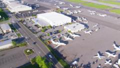 Aerial view of Californian Airport Stock Footage