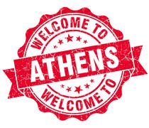 Stock Illustration of welcome to athens red vintage isolated seal