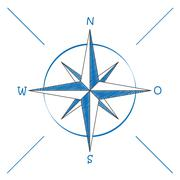 Stock Illustration of compass blue scribble