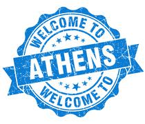 Stock Illustration of welcome to athens blue vintage isolated seal