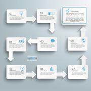rectangle flowchart 8 options - stock illustration