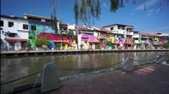 Melaka Canal, Malaysia Stock Footage