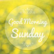 good morning sunday on blur background - stock illustration