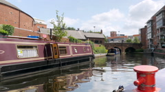 Birmingham city centre, moored canal boats. Stock Footage