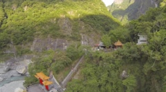 Tianxiang aerial - coming towards Pagoda Stock Footage