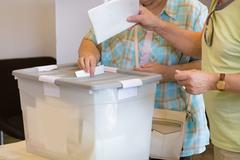 Citizens voting on democratic election. Stock Photos