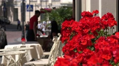 In a street cafe of Vilnius, Lithuania, selective focus Stock Footage