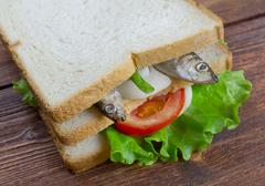 sandwiches with anchovies - stock photo