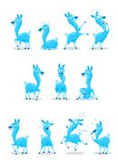 Blue Llama with Various Expressions Stock Illustration