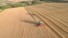 Stock Video Footage of English Countryside Harvest Aerial 4