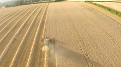 English Countryside Harvest Aerial 3 - stock footage