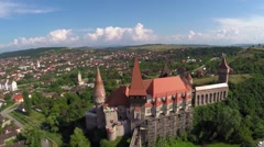 Aerial view of old city and castle Stock Footage