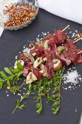 Marinaded tenderloin skewer with spices Stock Photos