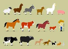 Stock Illustration of Cute Cartoon Farm Characters