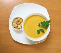 Homemade split pea soup Stock Photos