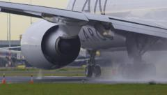 Airplane engine close up at full power during take-off - stock footage