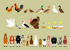 Stock Illustration of Cartoon Farm Characters (Part 2)