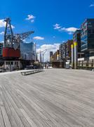 Stock Photo of HafenCity, Magellan-Terrassen, Modern residential and office buildings, Elbe