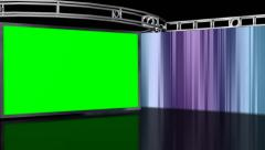 Virtual Studio Background with Green screen TV set Stock Footage