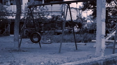 Abandoned playground next to river, Bangkok Stock Footage