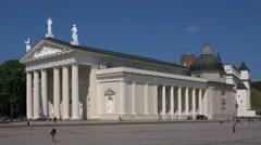 Establishing shot. Vilnius, Cathedral Basilica, Lithuania. Stock Footage
