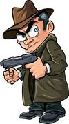cartoon gangster with a gun and hat - stock illustration